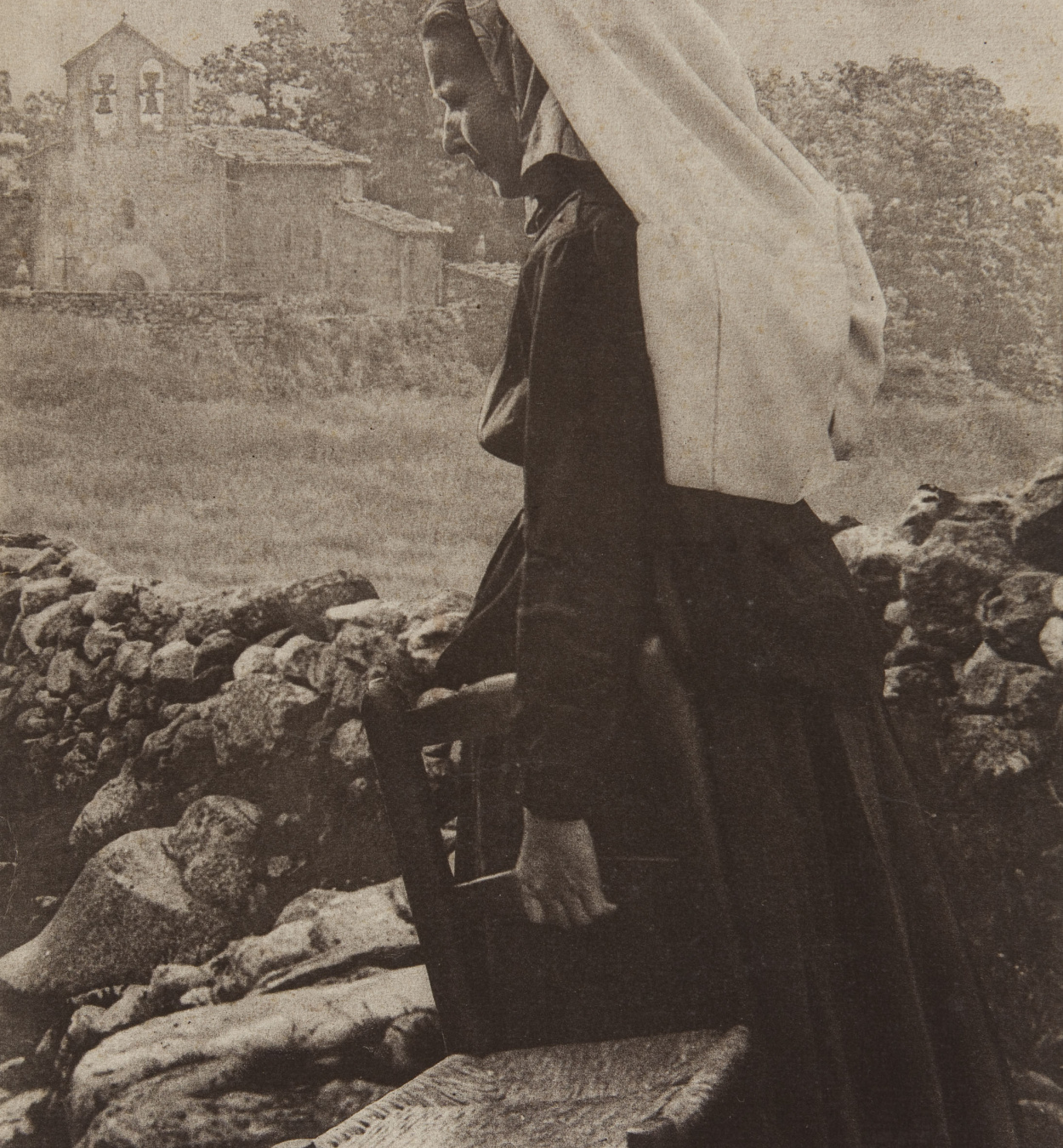 Claudi Carbonell - Peasant going [to the] church - Undated