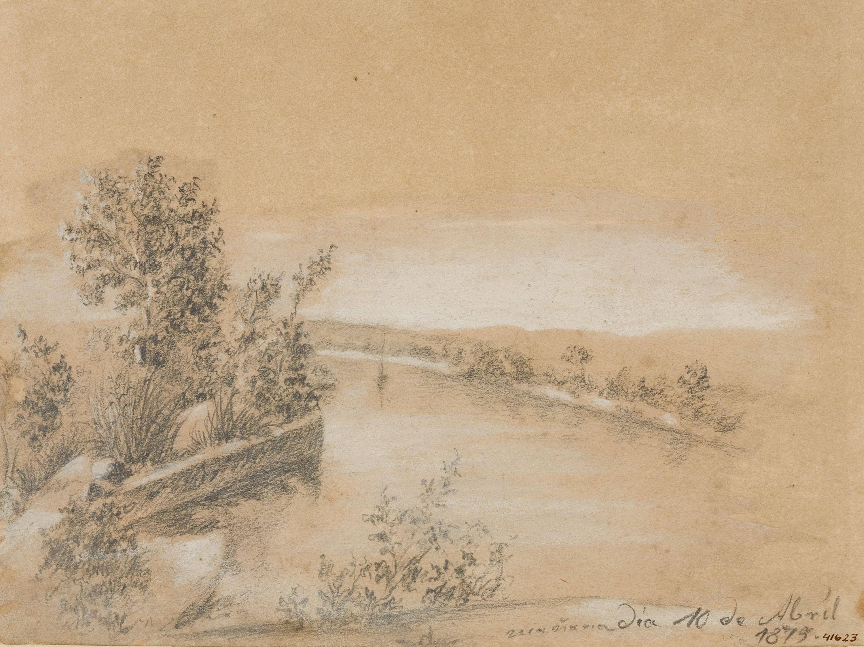 Francesc Gimeno - Vista de l'Ebre des del portal del Tomble - 1875