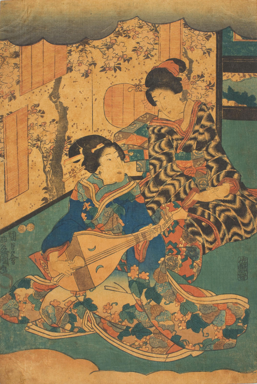 Utagawa Kunisada (Toyokuni III) - Two courtesans from the triptych 'Concert Scene from Inaka Genji (Yasasugata Azuma no utsushi-e)' - 1849-1853