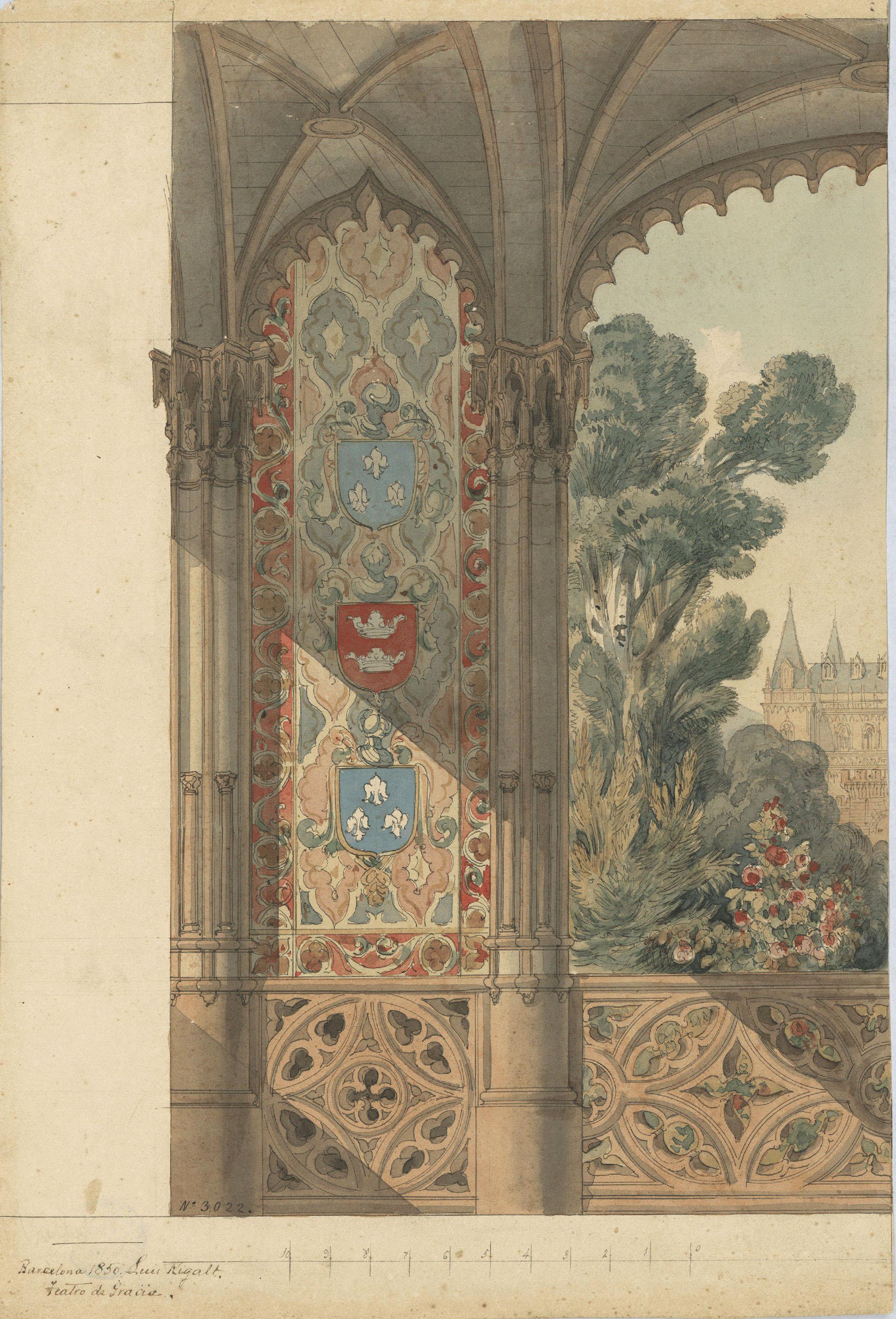Lluís Rigalt - Gran finestral gòtic obert a un parc (escenografia) - 1850