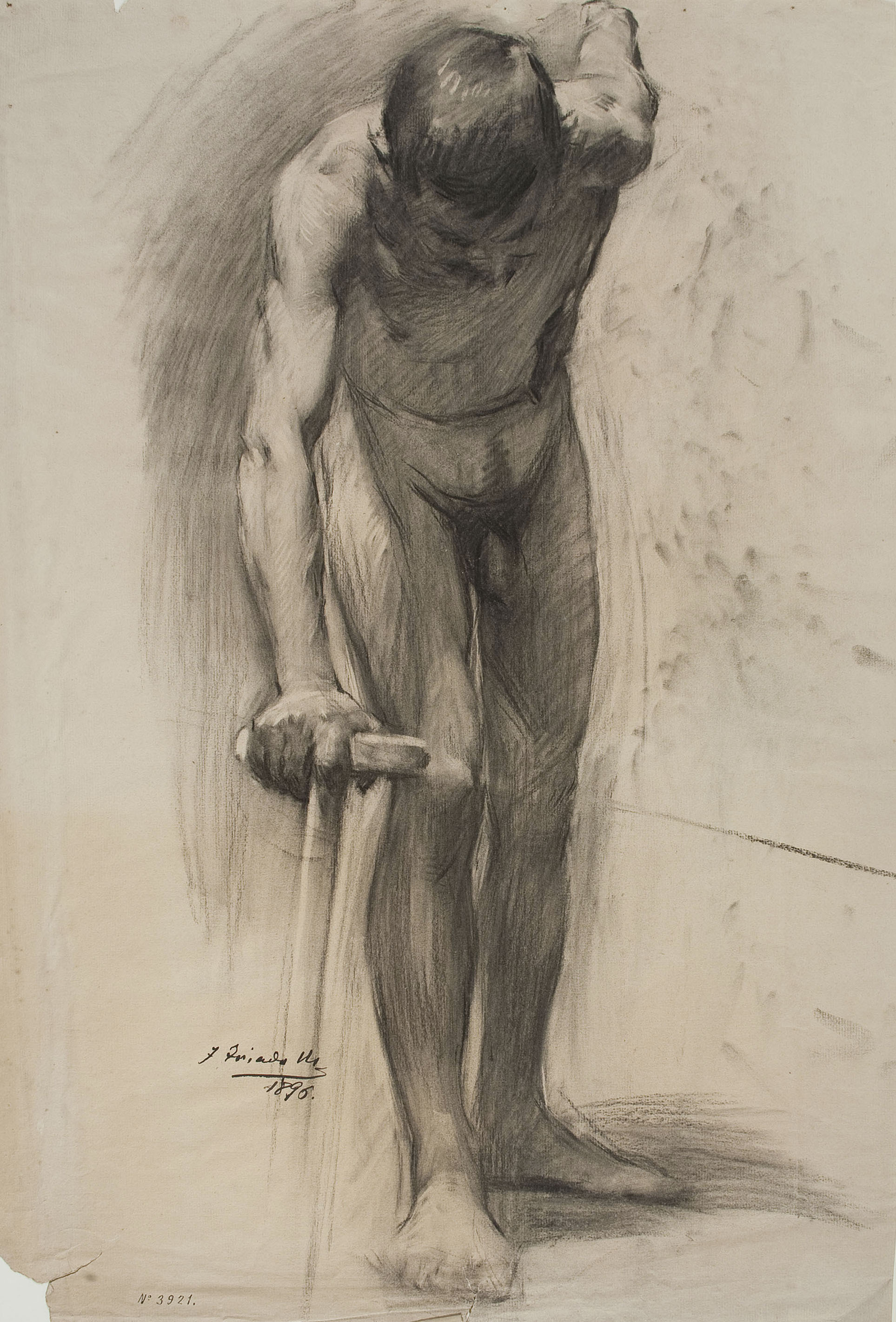 Josep Triadó - Nu masculí (anvers) / Nu femení d'esquena (revers) - 1896