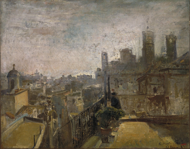 Ramon Martí i Alsina - Vista de Barcelona des d'un terrat de la Riera de Sant Joan - 1889
