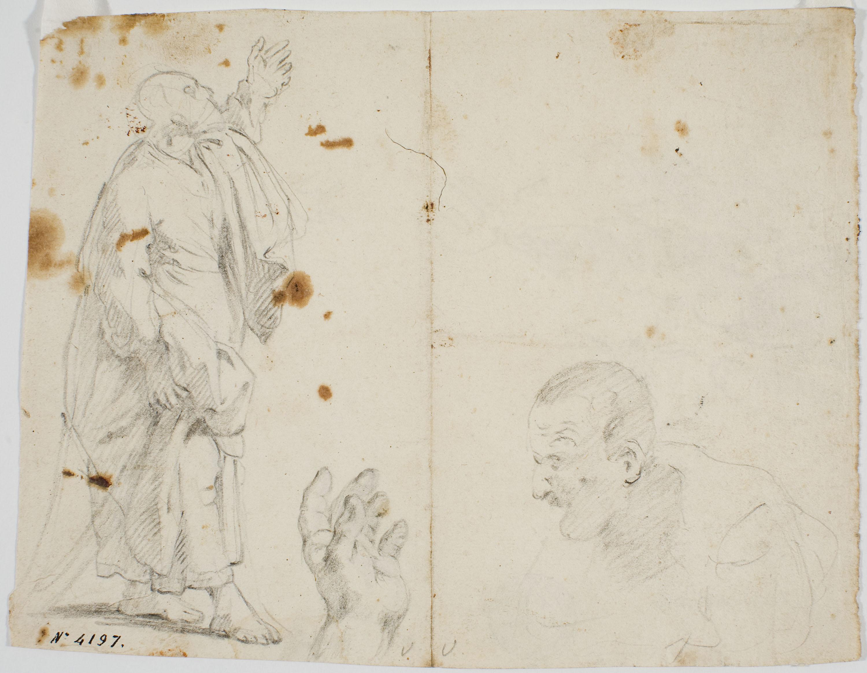 Antoni Viladomat - Estudi per al quadre «Pentecosta» (anvers) / Estudi per al quadre «Pentecosta» (revers) - Cap a 1740