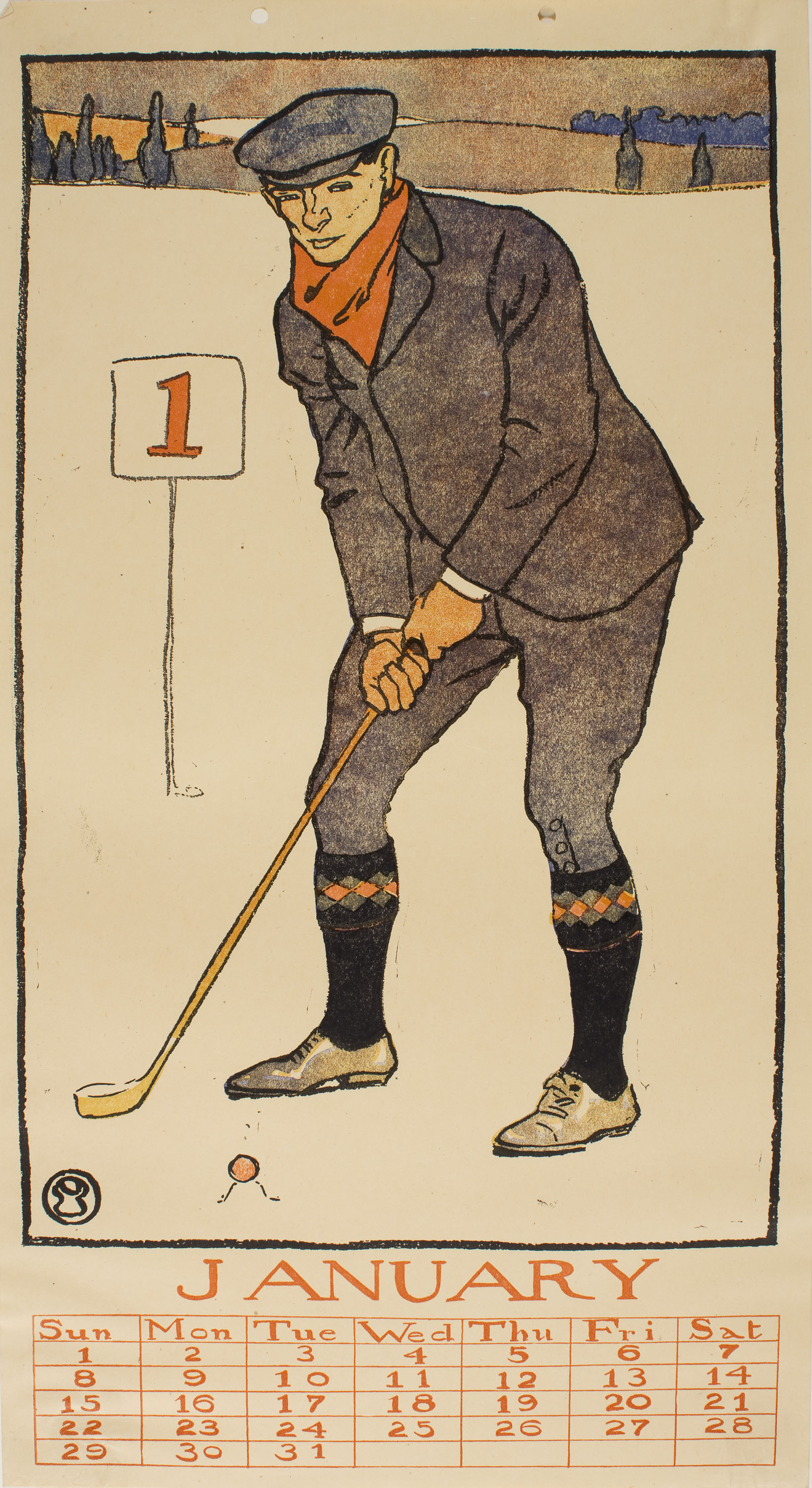 Edward Penfield - January (Golf Calendar) - 1899