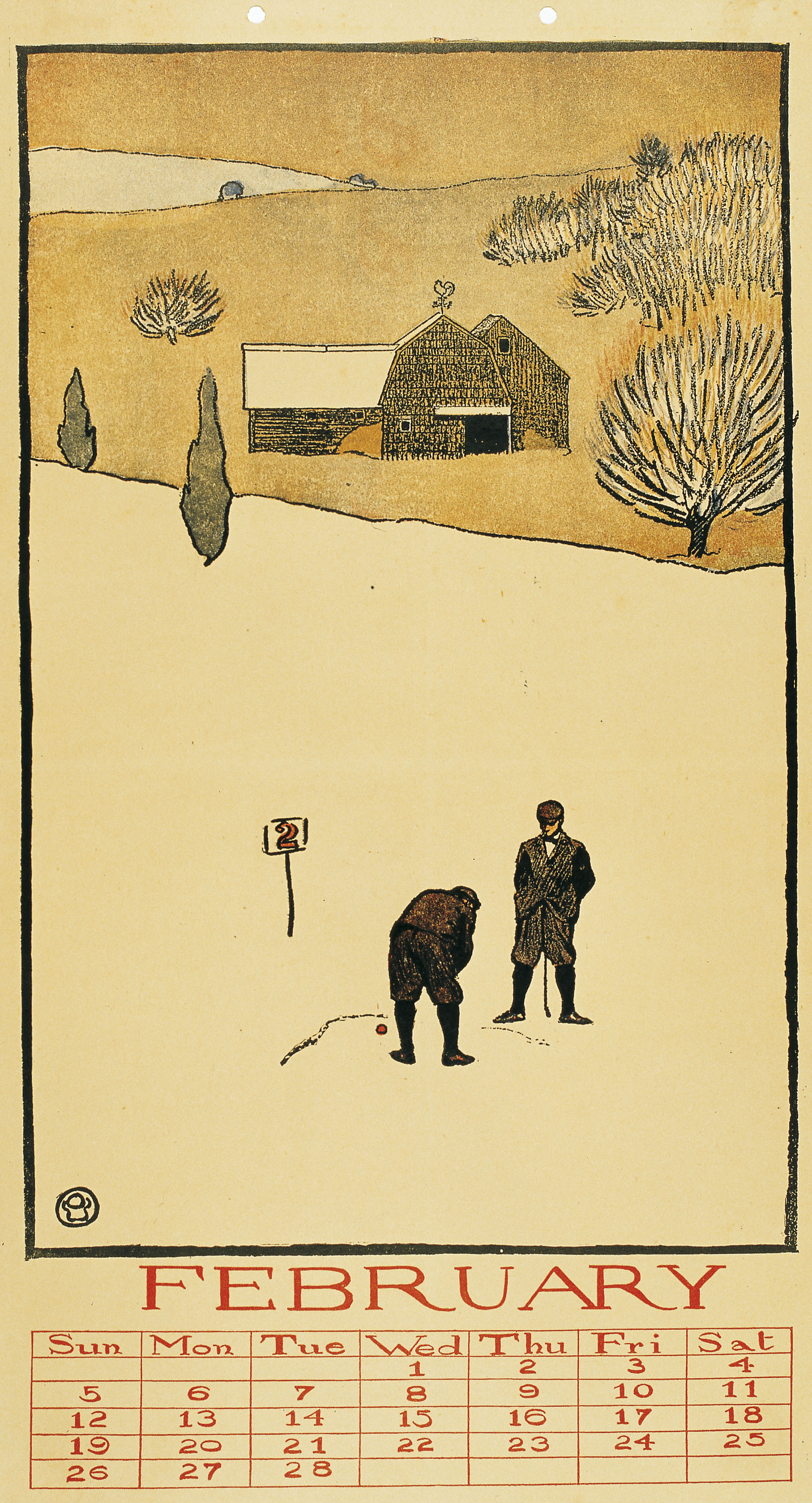 Edward Penfield - Golf Calendar. February - 1899