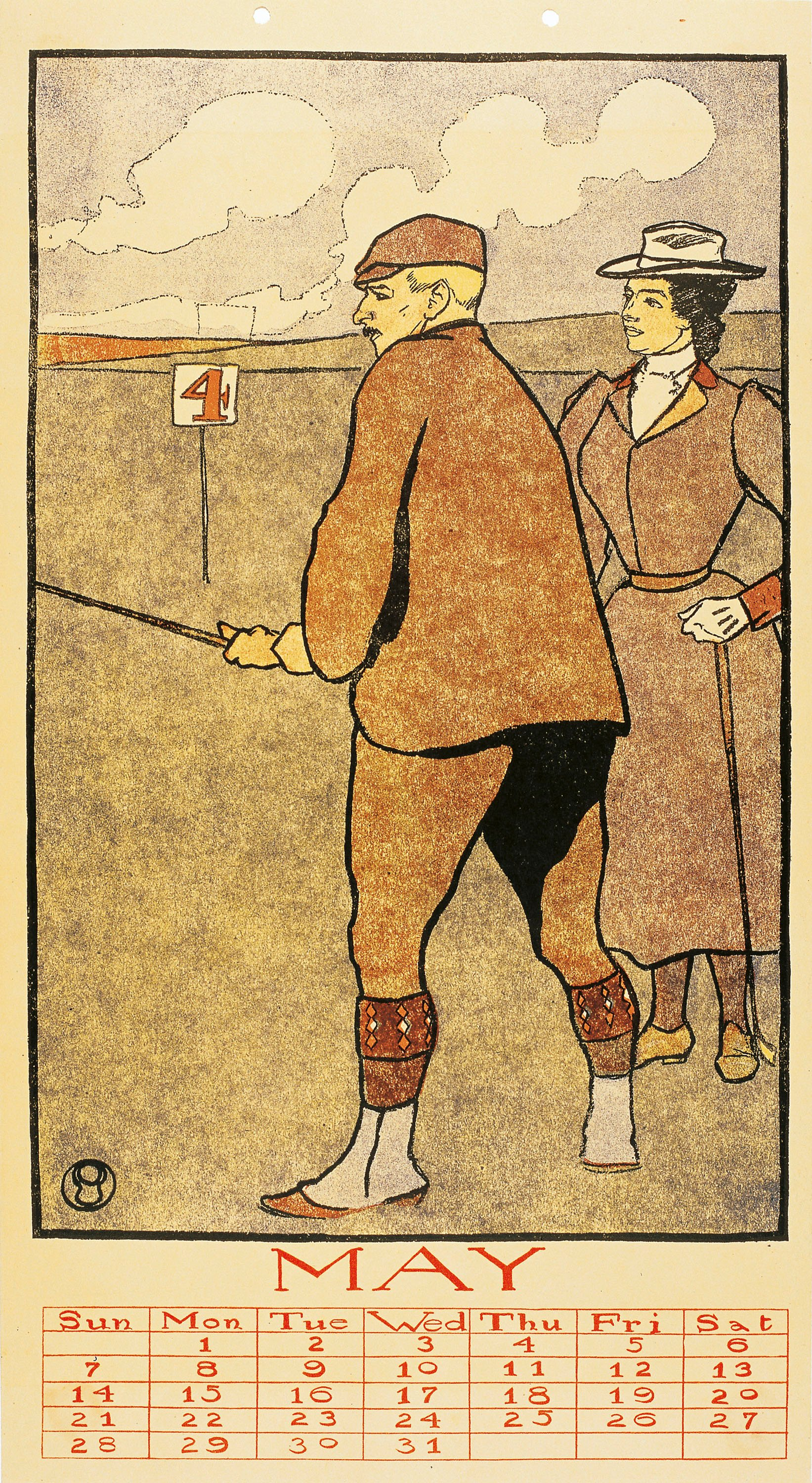 Edward Penfield - May (Golf Calendar) - 1899