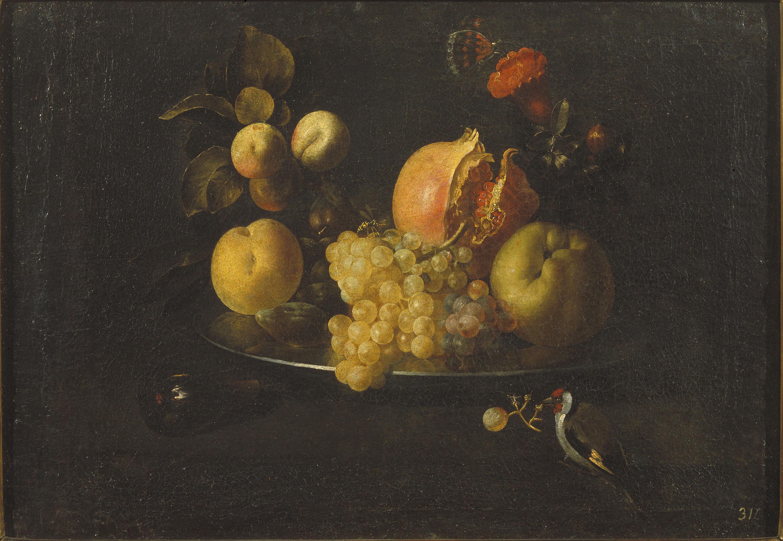 Juan de Zurbarán - Natura morta amb fruita i cadernera - Entre 1639-1640