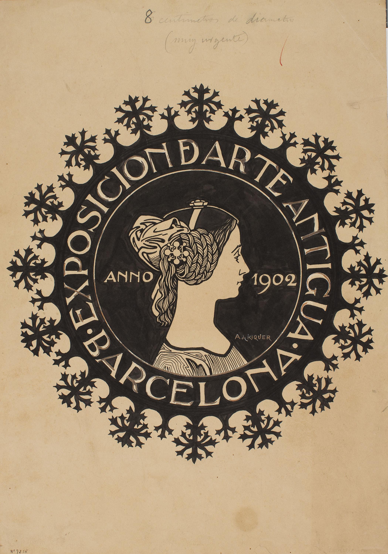 Alexandre de Riquer - Projecte de segell per a l'Exposició d'Art Antic de 1902 - Cap a 1902