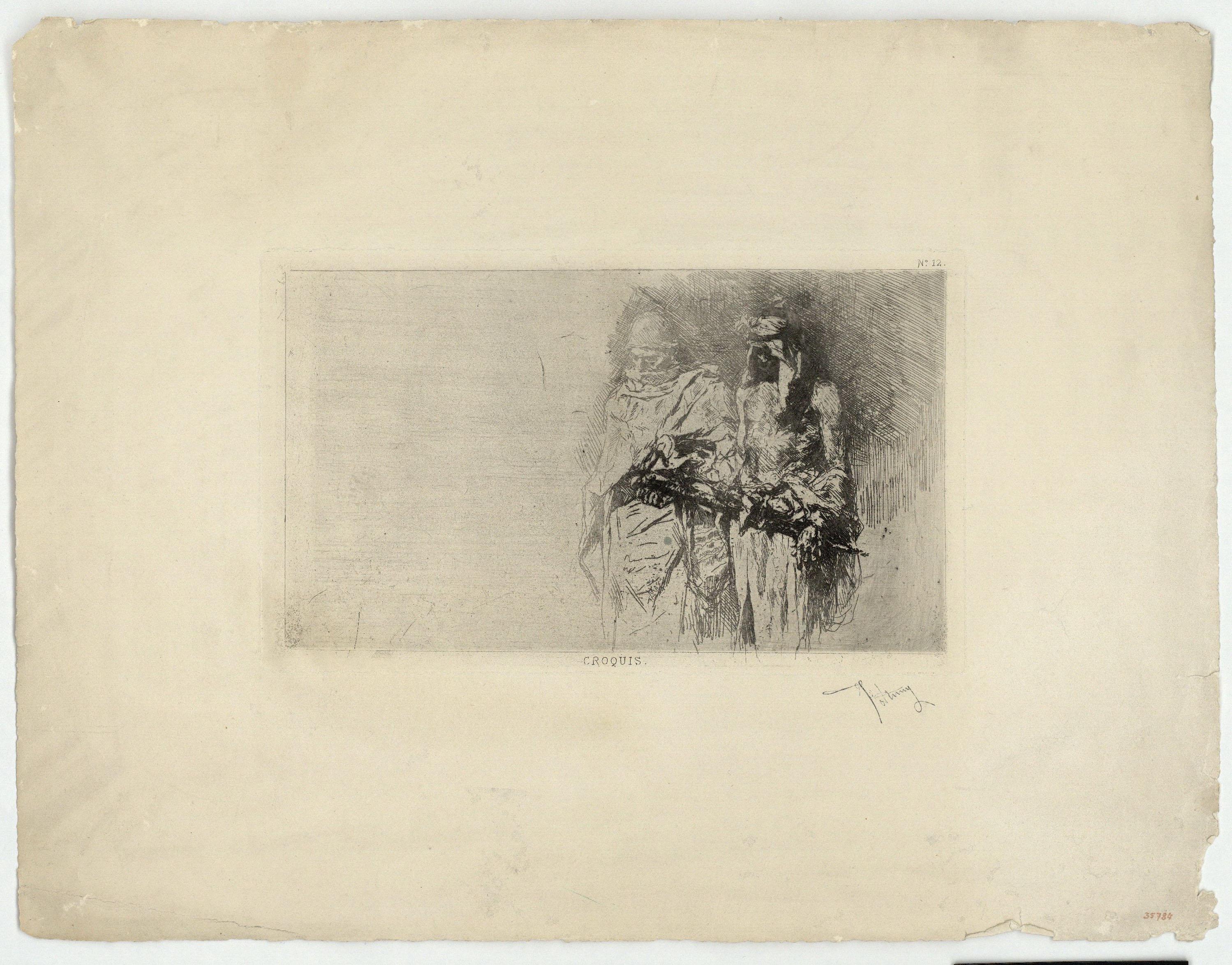 Marià Fortuny - Croquis (marroquins) - Cap a 1860-1862