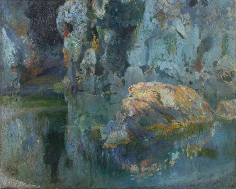 Joaquim Mir - La piedra del lago - Mallorca, hacia 1903