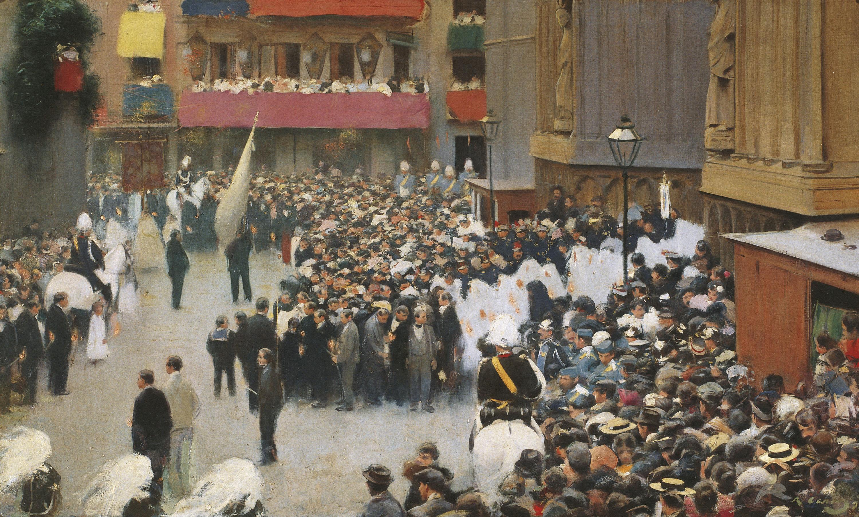 Ramon Casas - Corpus. Salida de la procesión de la iglesia de Santa María - Barcelona, hacia 1896-1898