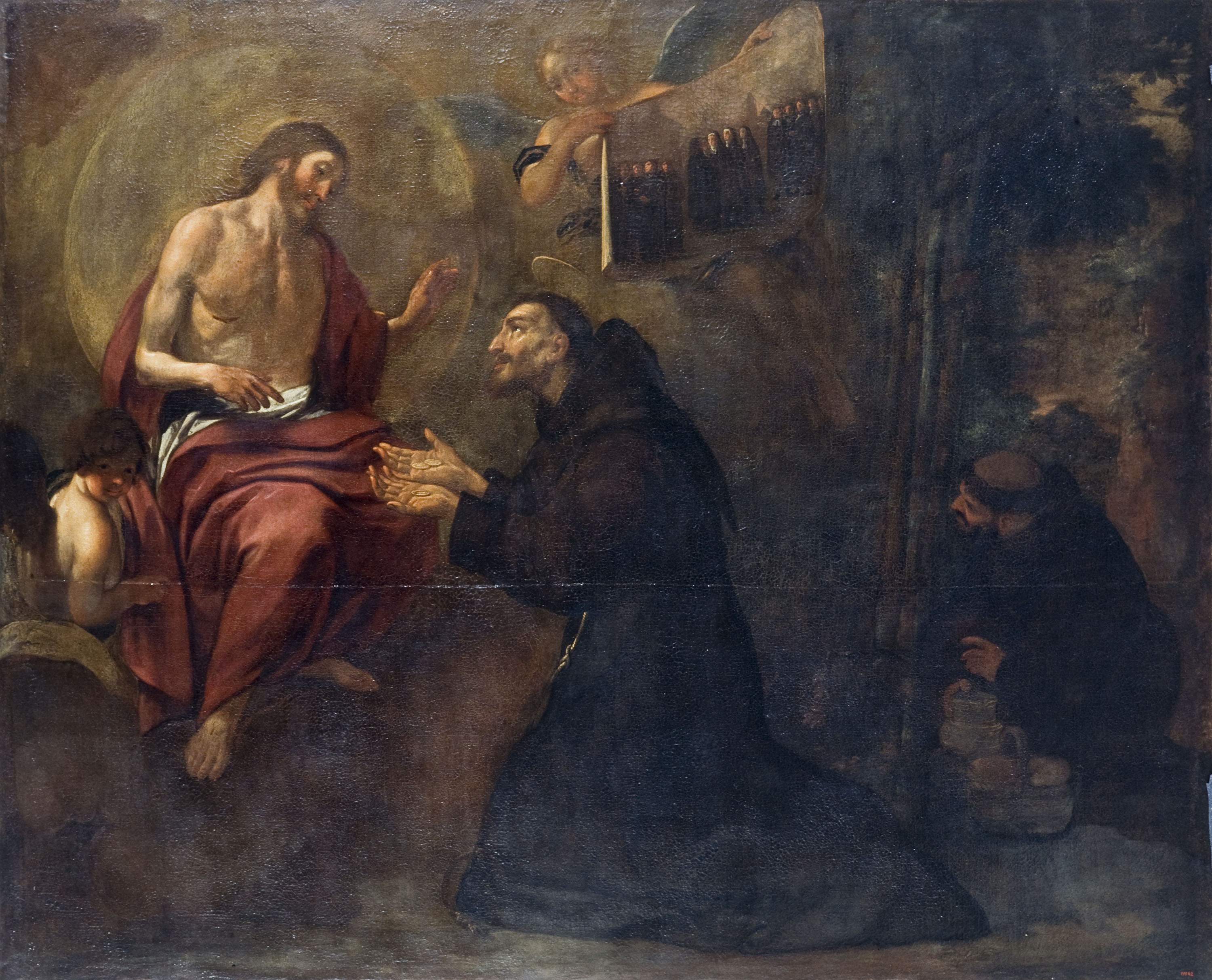 Saint Francis Gives Three Coins to Jesus, Symbol of the