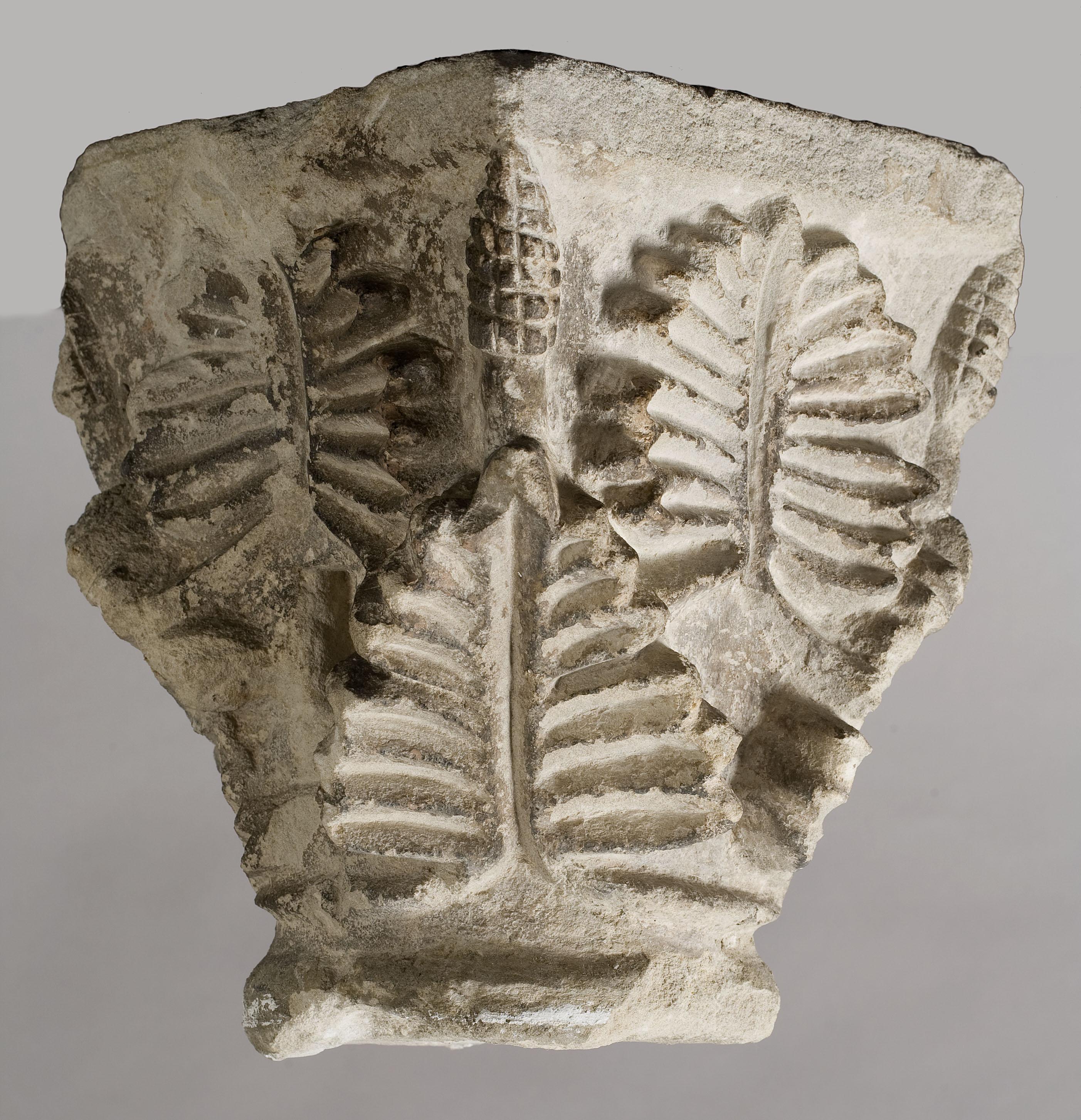 Anònim - Capitell amb decoració de grans fulles i petites pinyes - Segle XIII