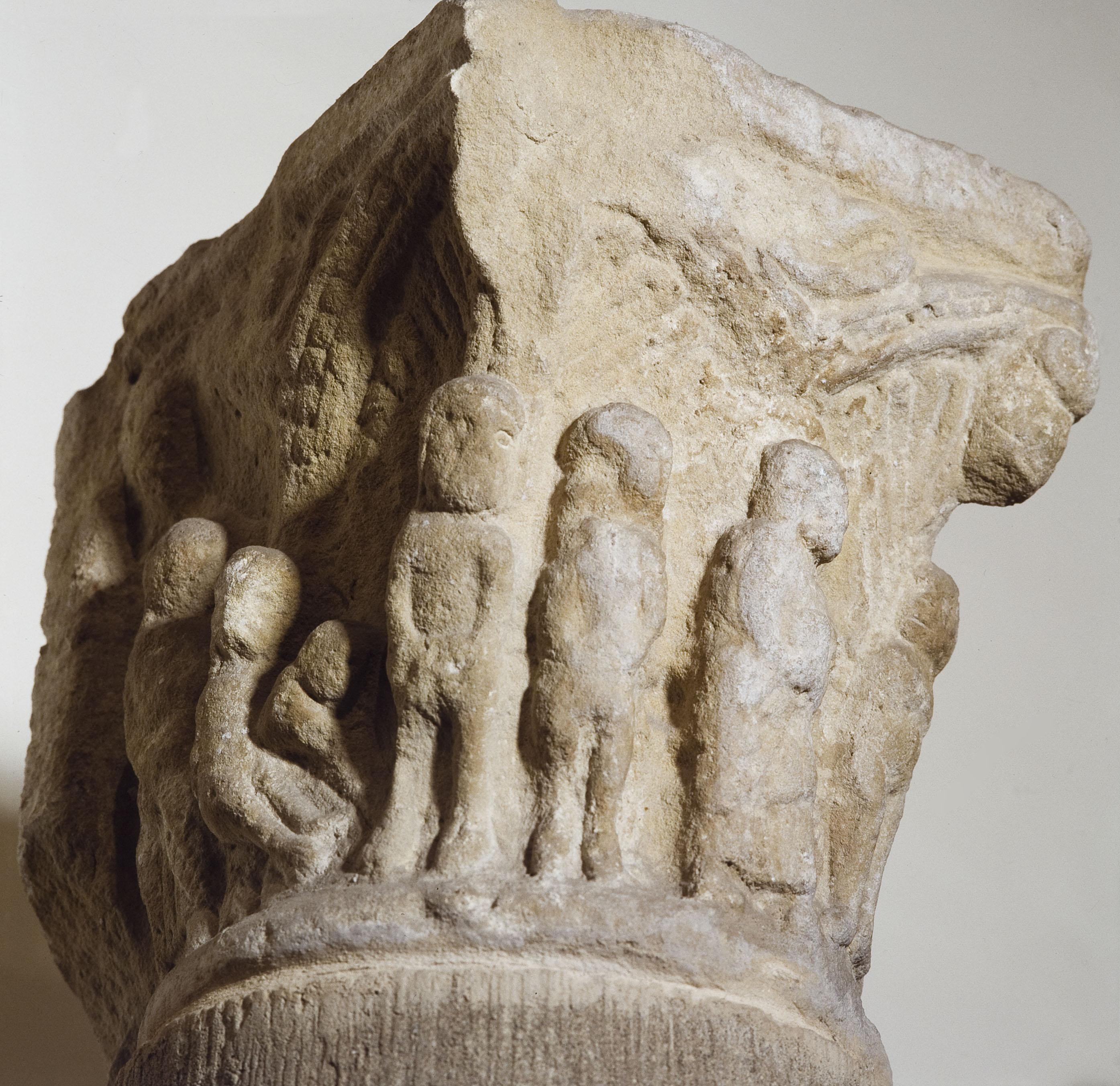 Anònim - Capitell historiat. Adam i Eva - Primera meitat del segle XIII