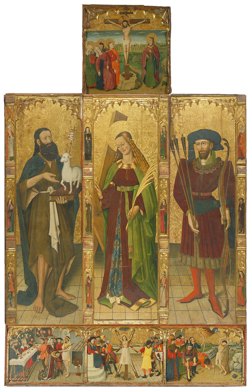 Anònim. Catalunya - Altarpiece of Saint John the Baptist, Saint Eulalia and Saint Sebastian - Second half of the 15th century