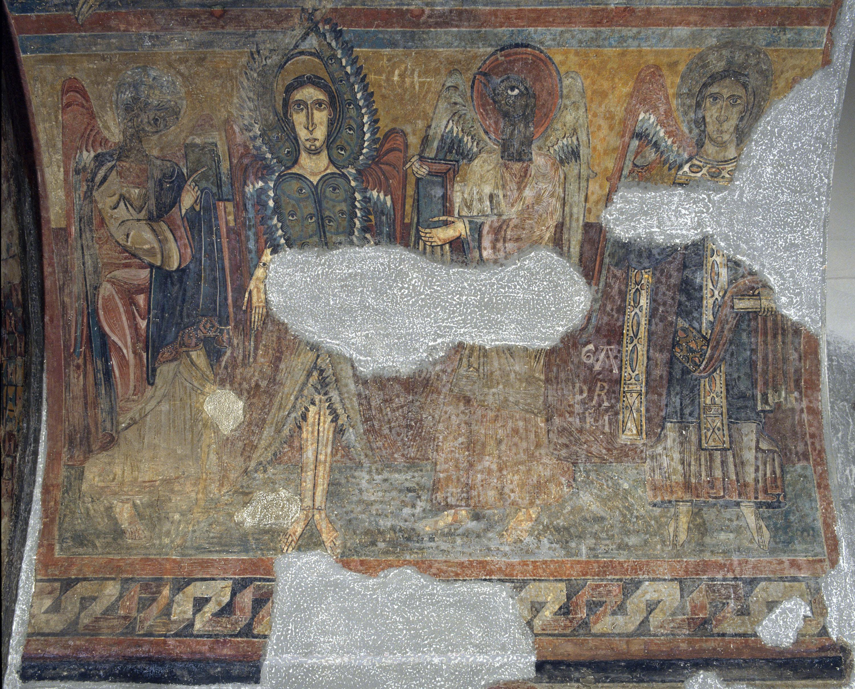 Mestre de Santa Maria de Taüll - Arc del Tetramorf amb serafí i arcàngel de Santa Maria de Taüll - Cap a 1123