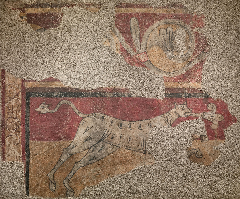 Mestre de Boí - Quadrúpede amb flor de lis de Sant Joan de Boí - Cap a 1100