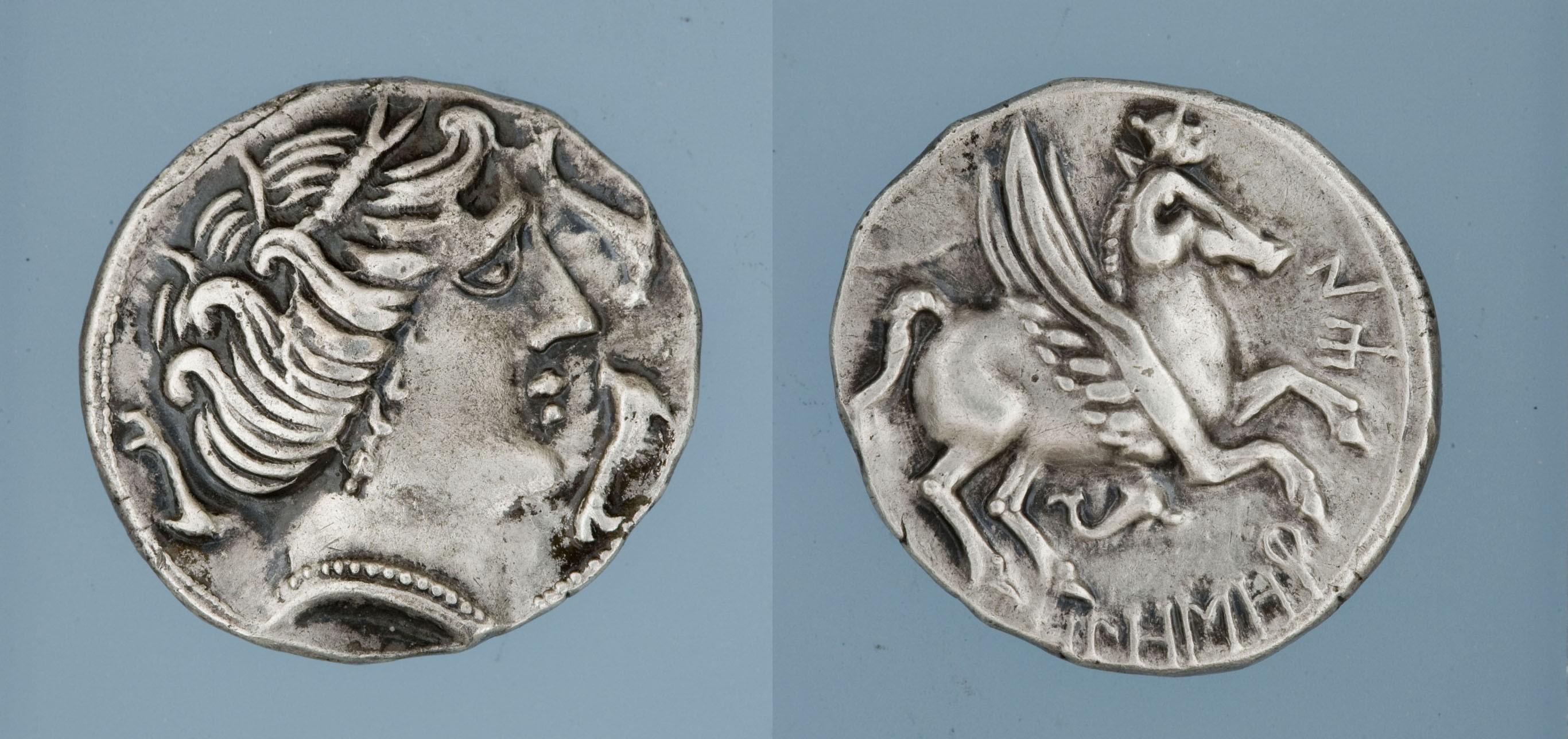 Olosortin, imitació d'Emporion - Dracma ibèrica d'imitació - 218-212 aC