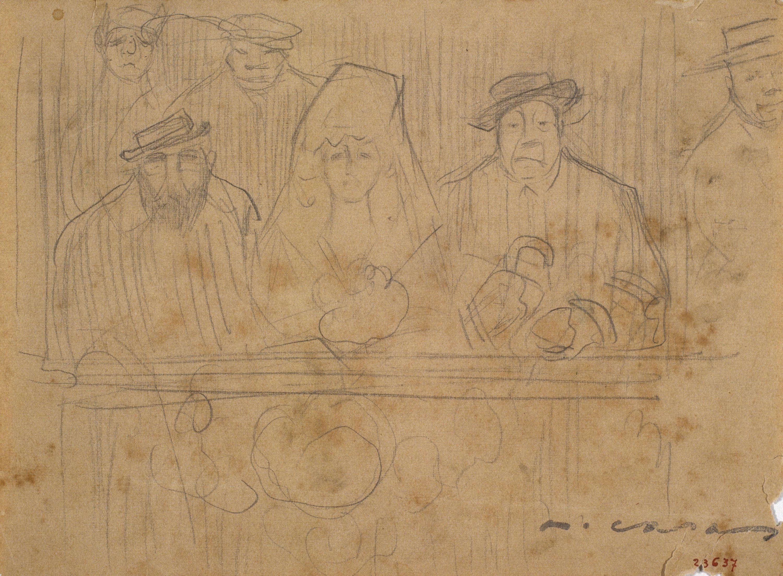 Ramon Casas - Autorretrato, mujer con mantilla y Mr. Deering en los toros  - Hacia 1909