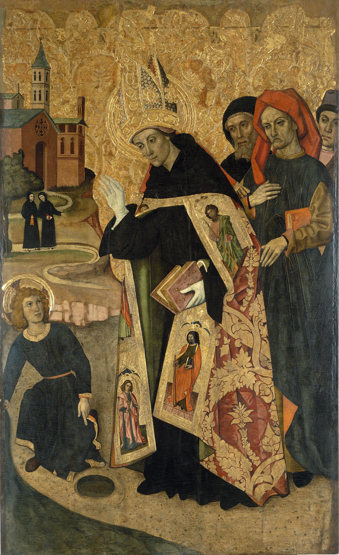 Grup Vergós - Sant Agustí medita sobre la Trinitat i se li apareix el Nen Jesús - Cap a 1470/1475-1486