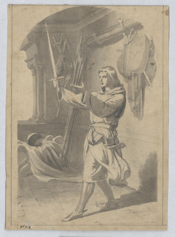 Marià Fortuny - Invocació a l'espasa d'un episodi del Cantar de Mio Cid - Cap a 1855-1858