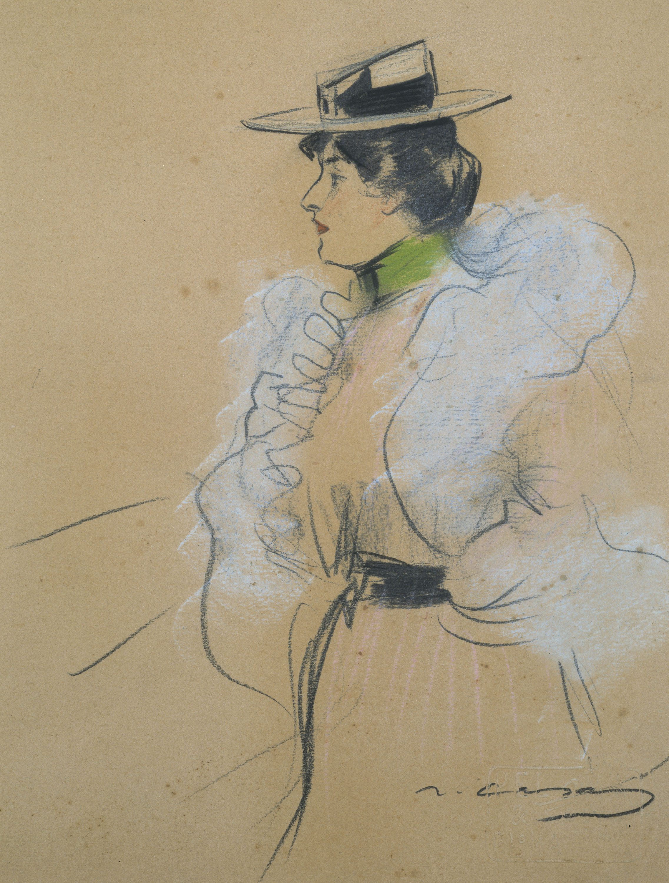 Ramon Casas - Female figure in profile - Circa 1899