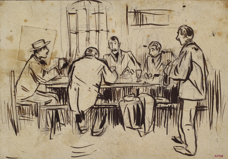 Ramon Casas - Working in the canteen - 1893