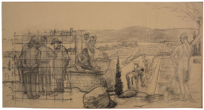 Joan Llimona - Treballs arqueològics a Empúries. Projecte per a l'escala de l'antic palau del Governador del Parc de la Ciutadella (plafó esquerre) - 1925