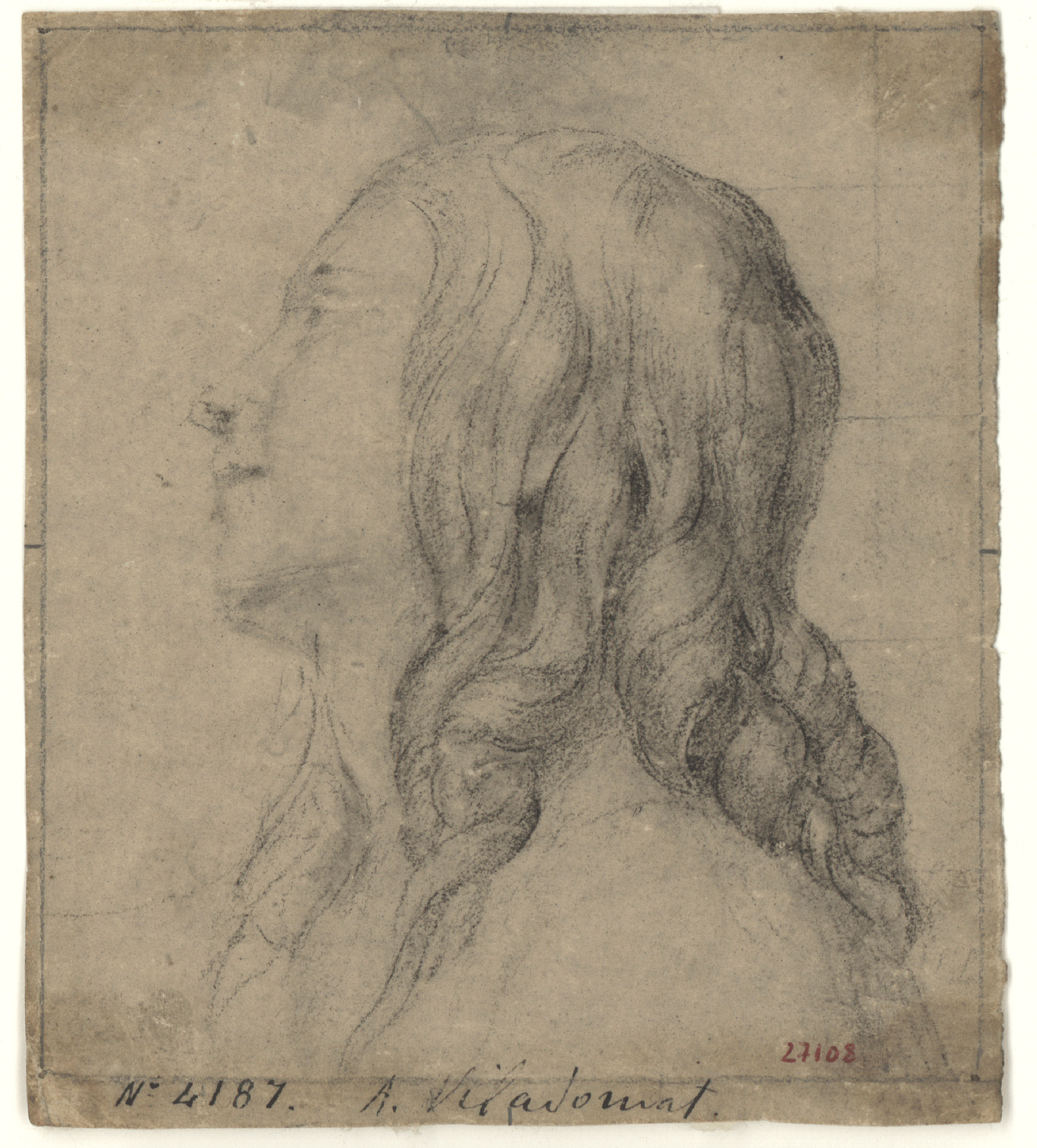 Antoni Viladomat - Head of a youth with ringlets - Circa 1720-1755