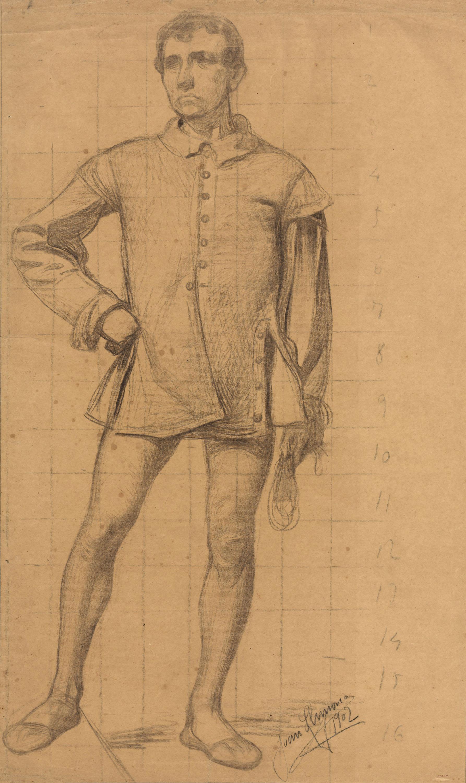 Joan Llimona - Figura masculina. Estudi per a un quadre - 1902