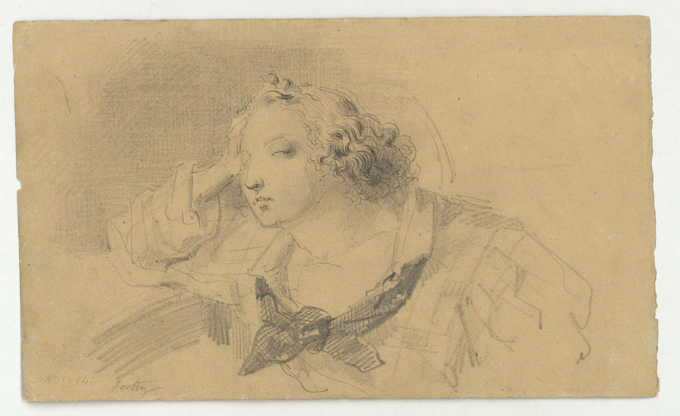 Marià Fortuny - Bust de jove (anvers) / Esbós de figures (revers) - Cap a 1856-1858