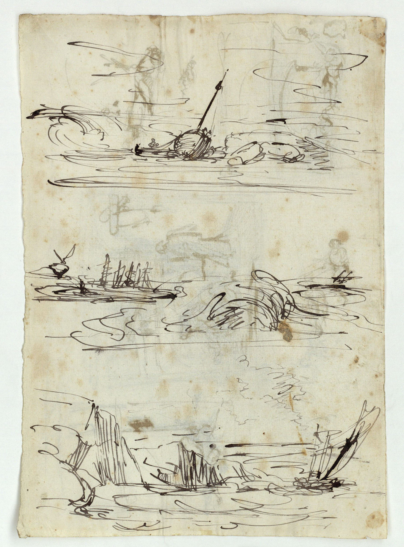 Marià Fortuny - Rough sketch of boats at sea - Circa 1856-1858
