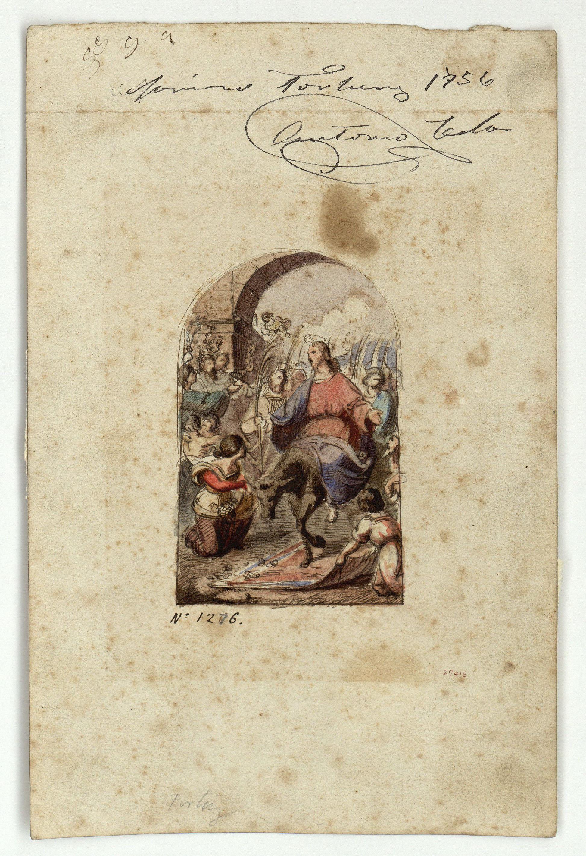 Marià Fortuny - Entrada de Crist a Jerusalem (anvers) / Croquis de figures (revers) - Cap a 1856-1858