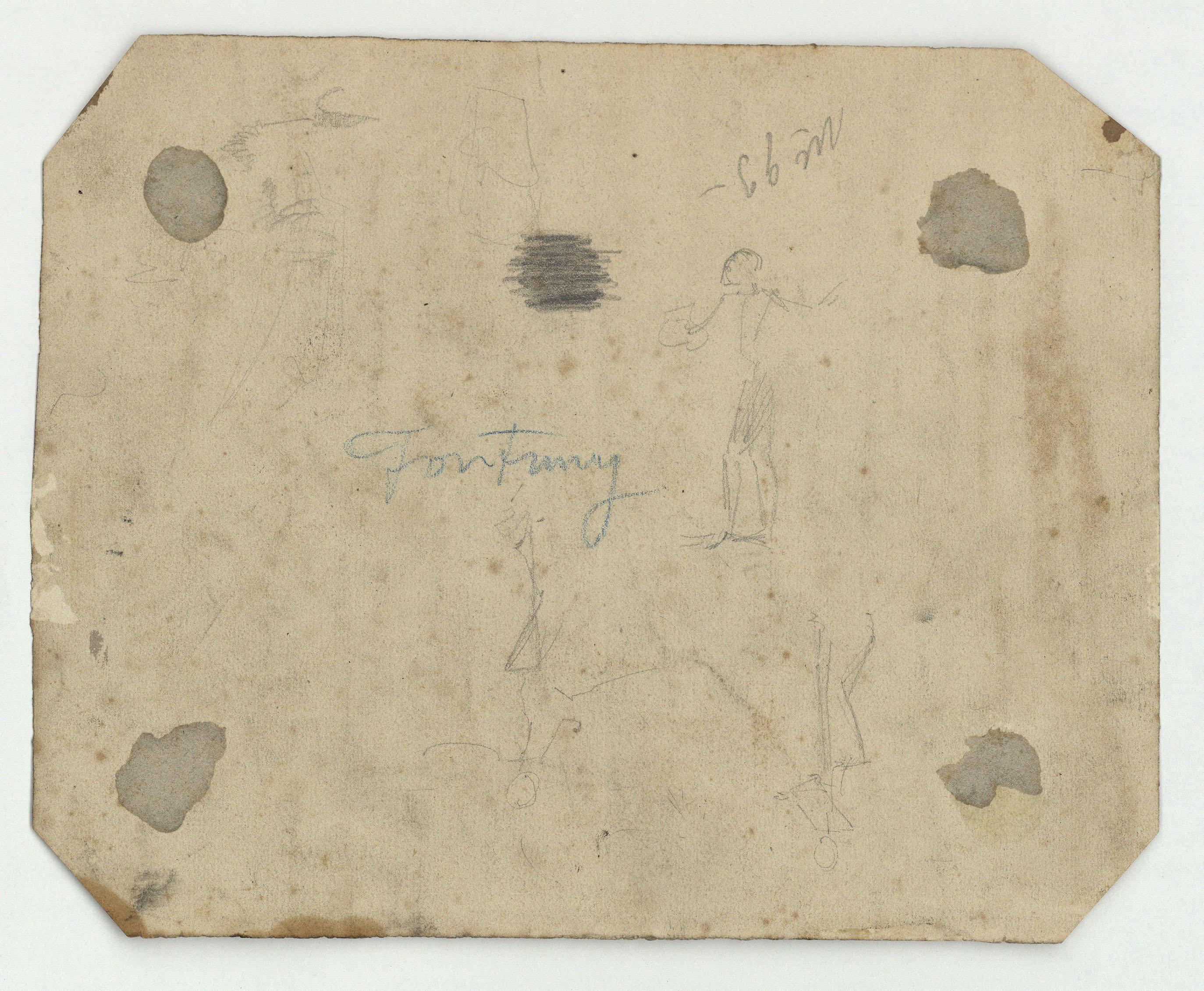 Marià Fortuny - Homer recitant poemes (anvers) / Croquis de figures (revers) - Cap a 1855-1856 [1]