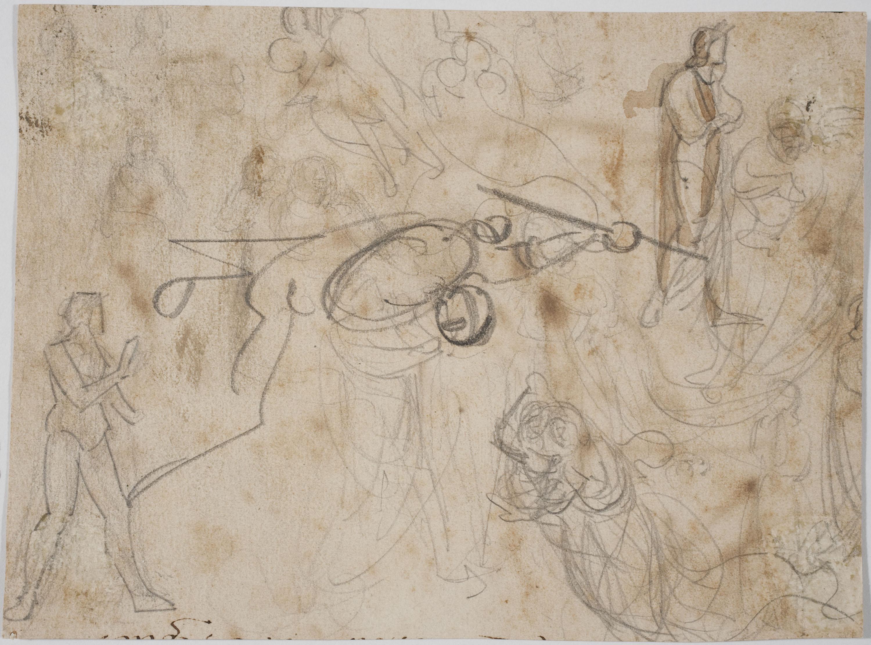 Marià Fortuny - L'aventura del Quixot amb els molins de vent (anvers) / Estudi de figures (revers) - Cap a 1855-1856 [1]