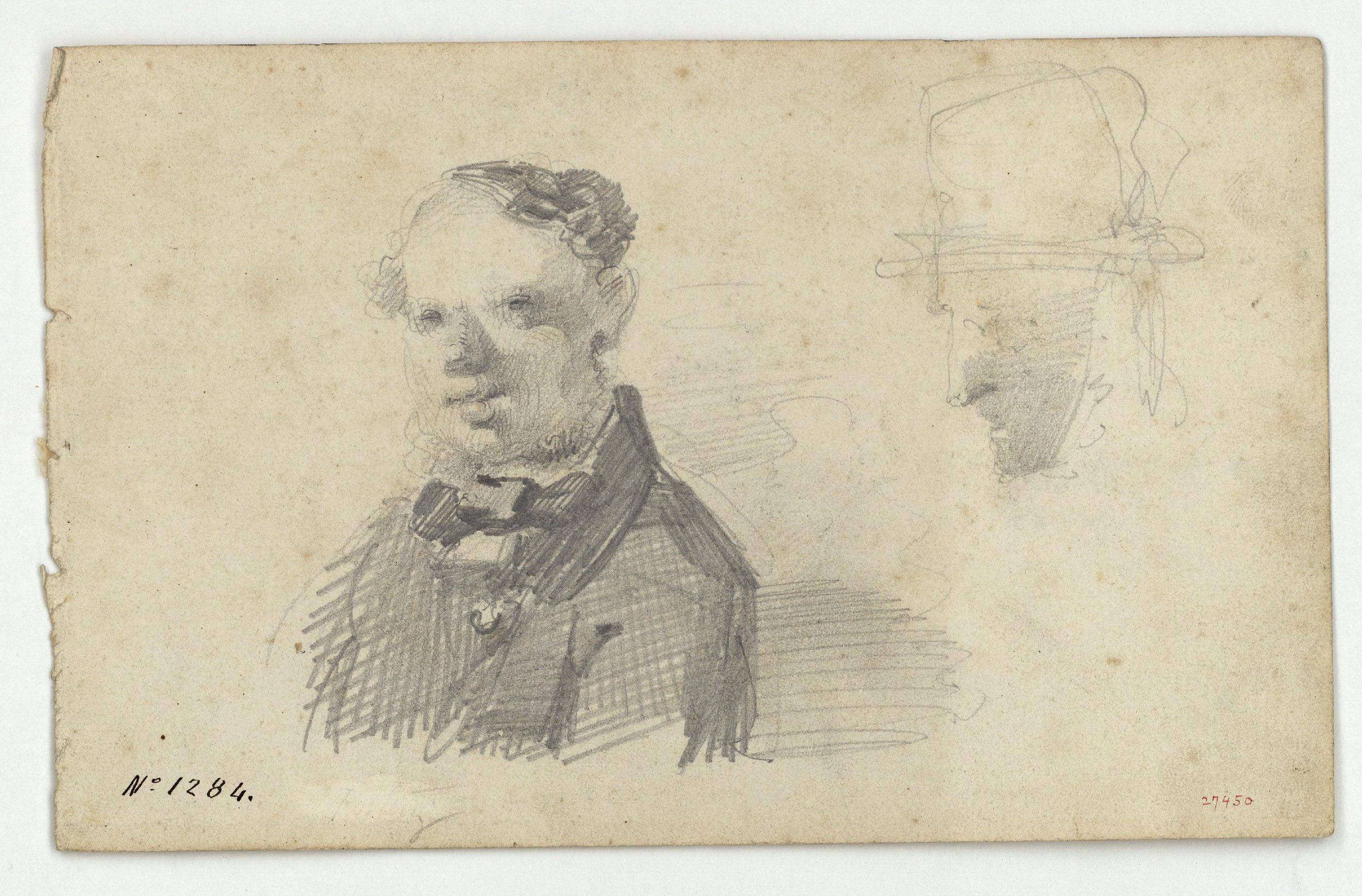 Marià Fortuny - Bust i cap de personatges anglesos - Cap a 1856-1858