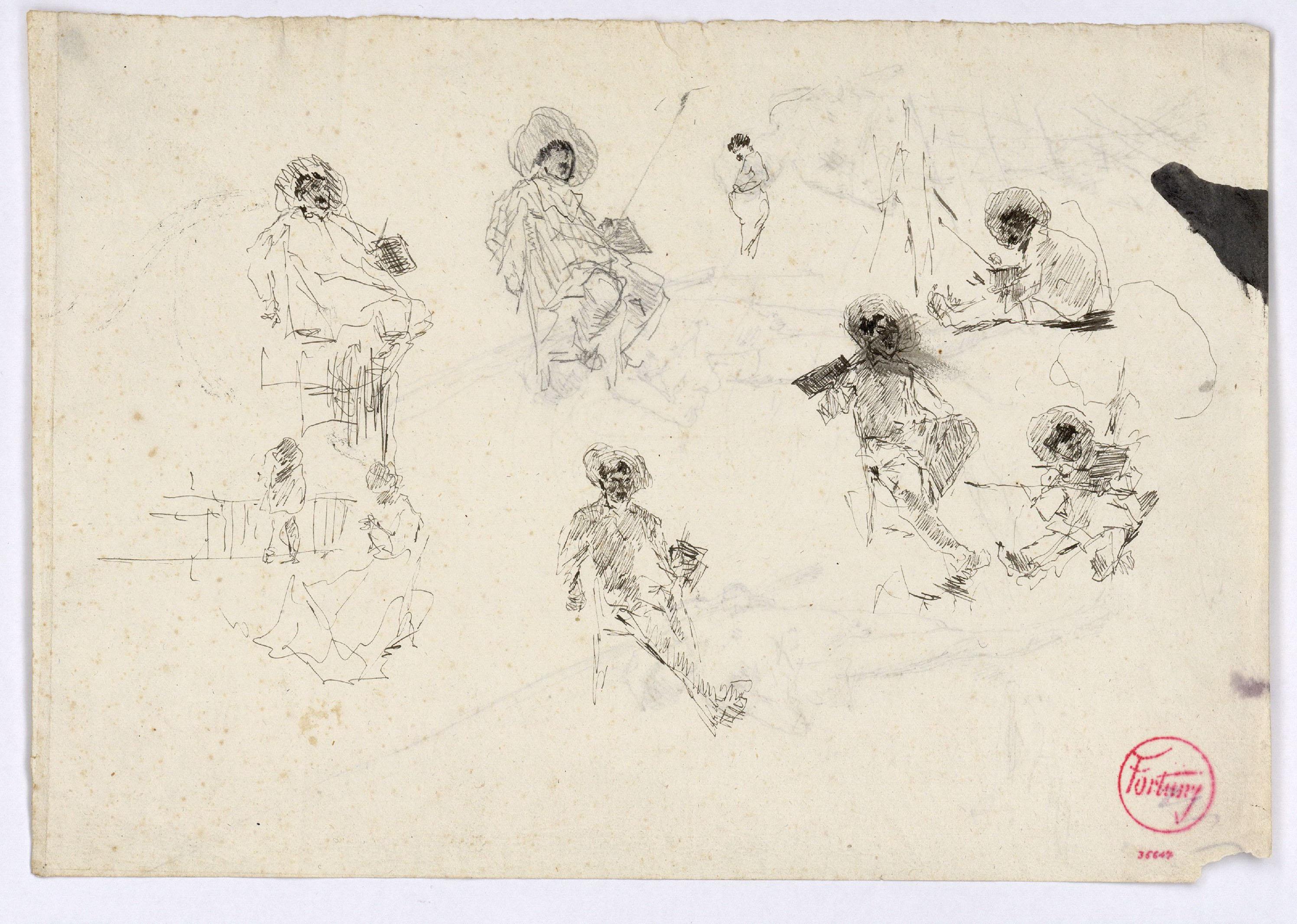 Marià Fortuny - Esbós de figures (anvers) / Esbós de pescadors nus (revers) - Cap a 1874