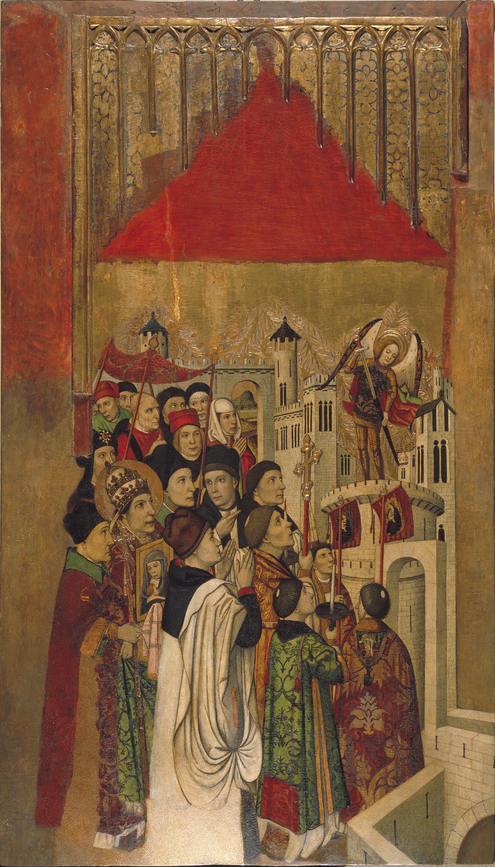 Jaume Huguet - Aparició de sant Miquel al castell de Sant'Angelo - Cap a 1455-1460