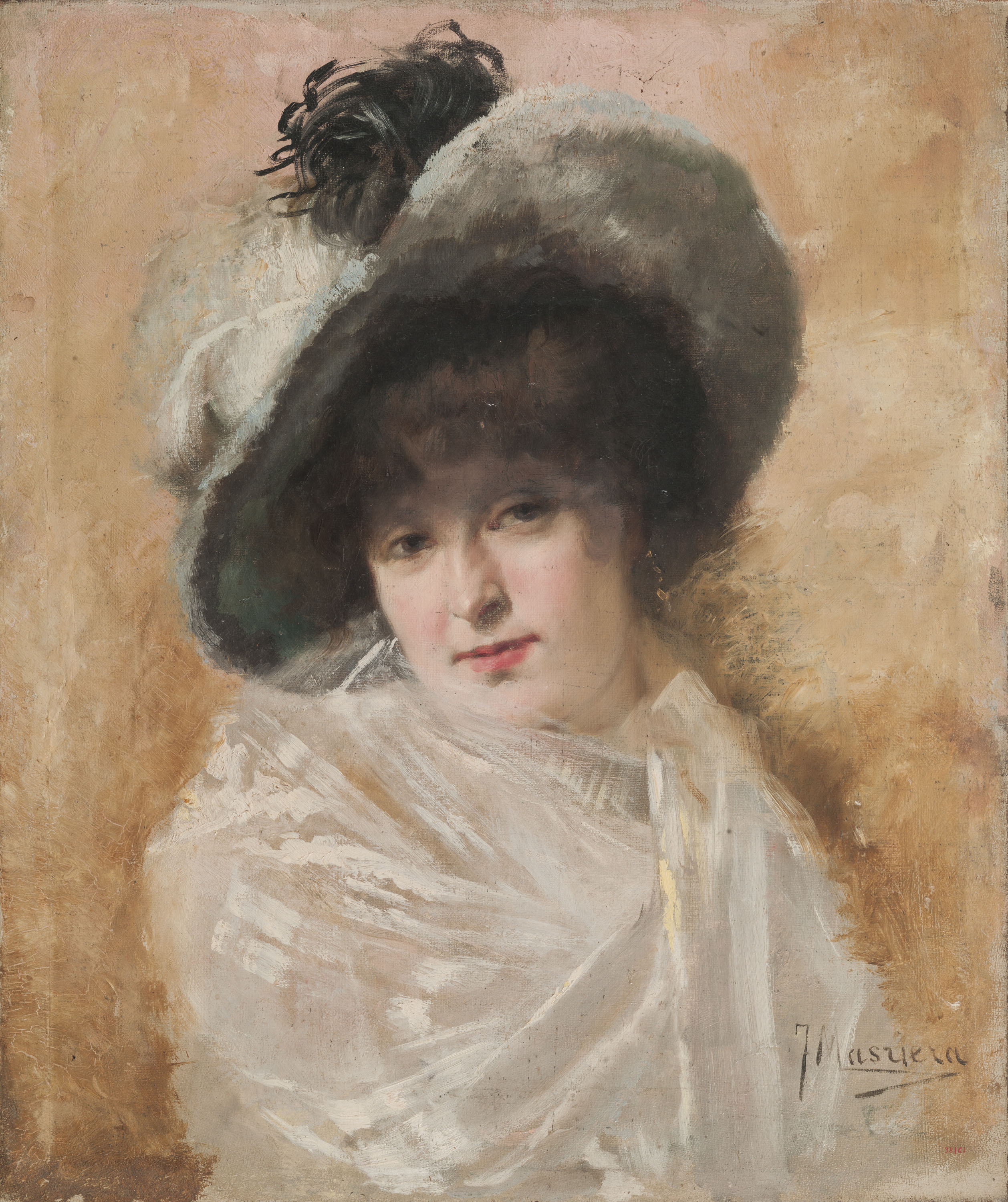 Francesc Masriera - Bust of a Woman with a Shawl and a Hat  - Circa 1875-1900