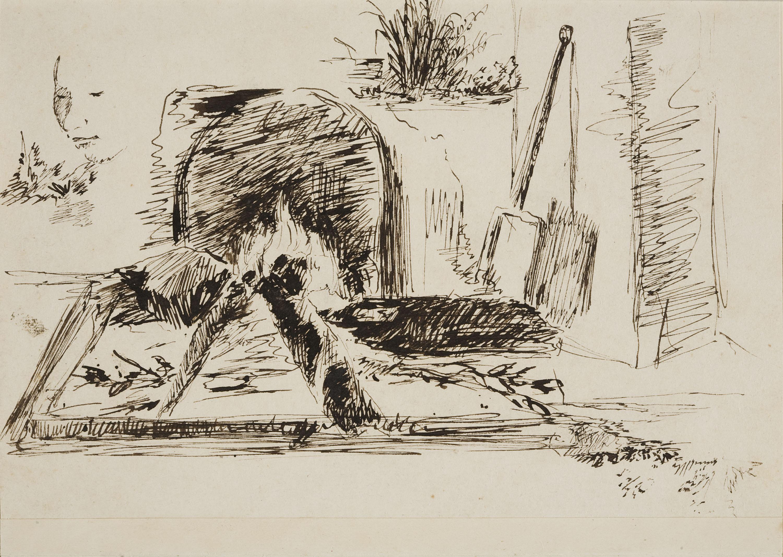Francesc Gimeno - Dona amb un xai (anvers) / Apunt d'una llar de foc encesa, plantes i un rostre femení (revers) - Cap a 1875-1880 [1]