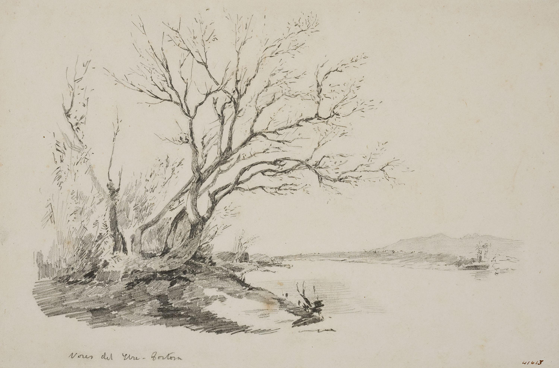 Francesc Gimeno - Vores de l'Ebre, Tortosa (anvers) / Retrat masculí (revers) - Cap a 1878