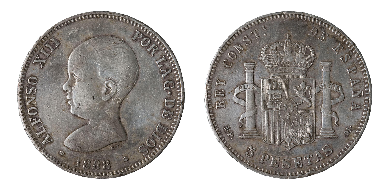 Alfons XIII d'Espanya - 5 pessetes - 1888