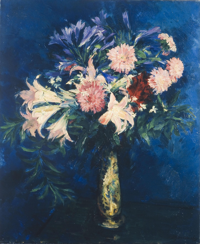 Josep Gausachs - Flors amb fons blau - 1932