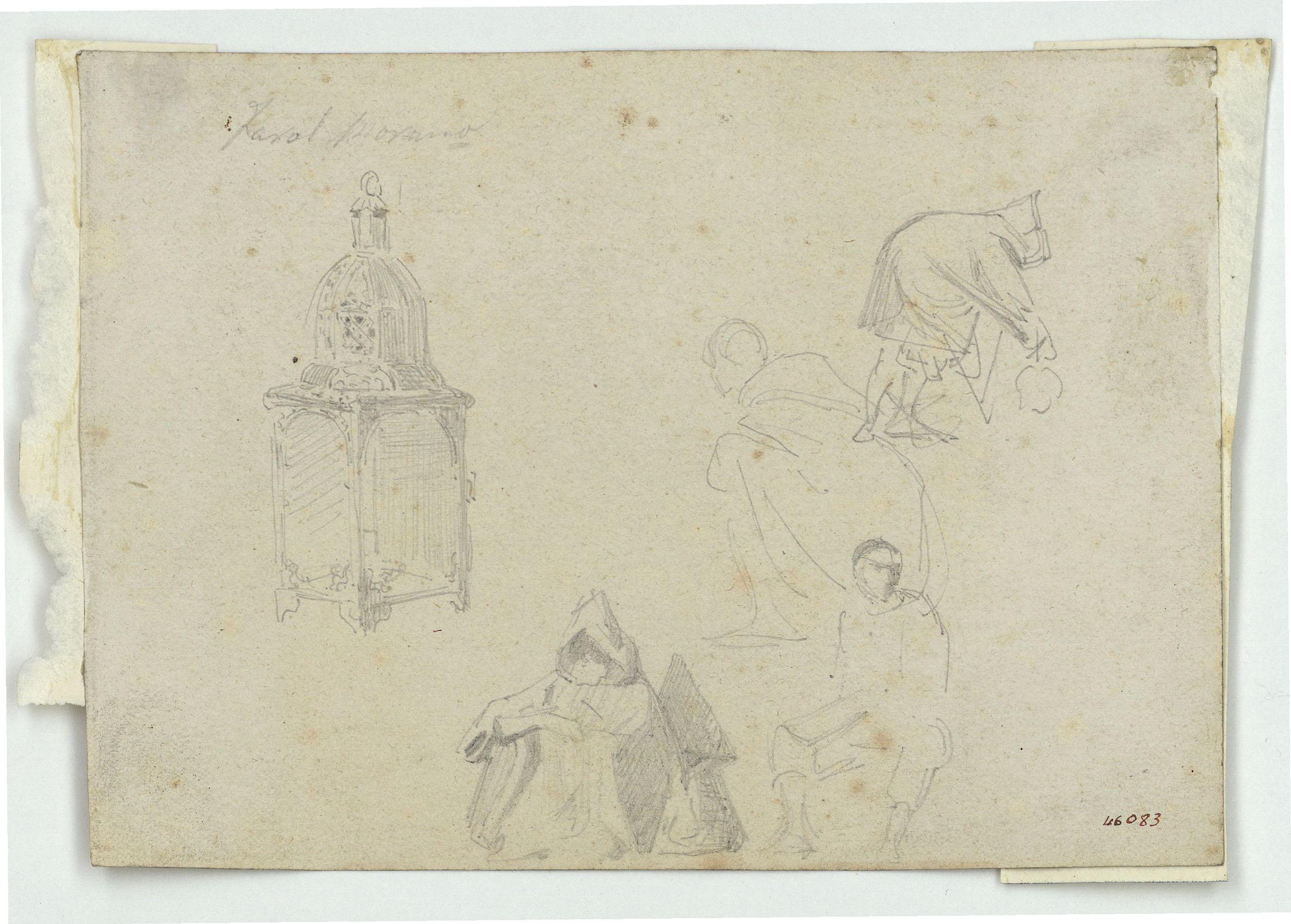 Marià Fortuny - Fanal d'estil musulmà i marroquins (anvers) / Croquis inconcret (revers) - Cap a 1860-1862