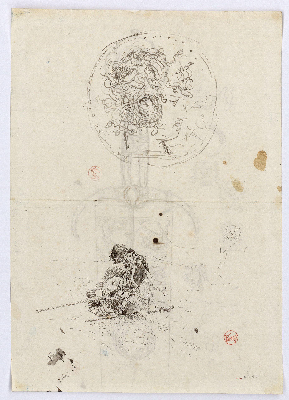 Marià Fortuny - Moneda i estudi per al quadre «L'esmolador de sabres» (anvers) / Espasa d'estil renaixentista (revers) - Cap a 1863-1872