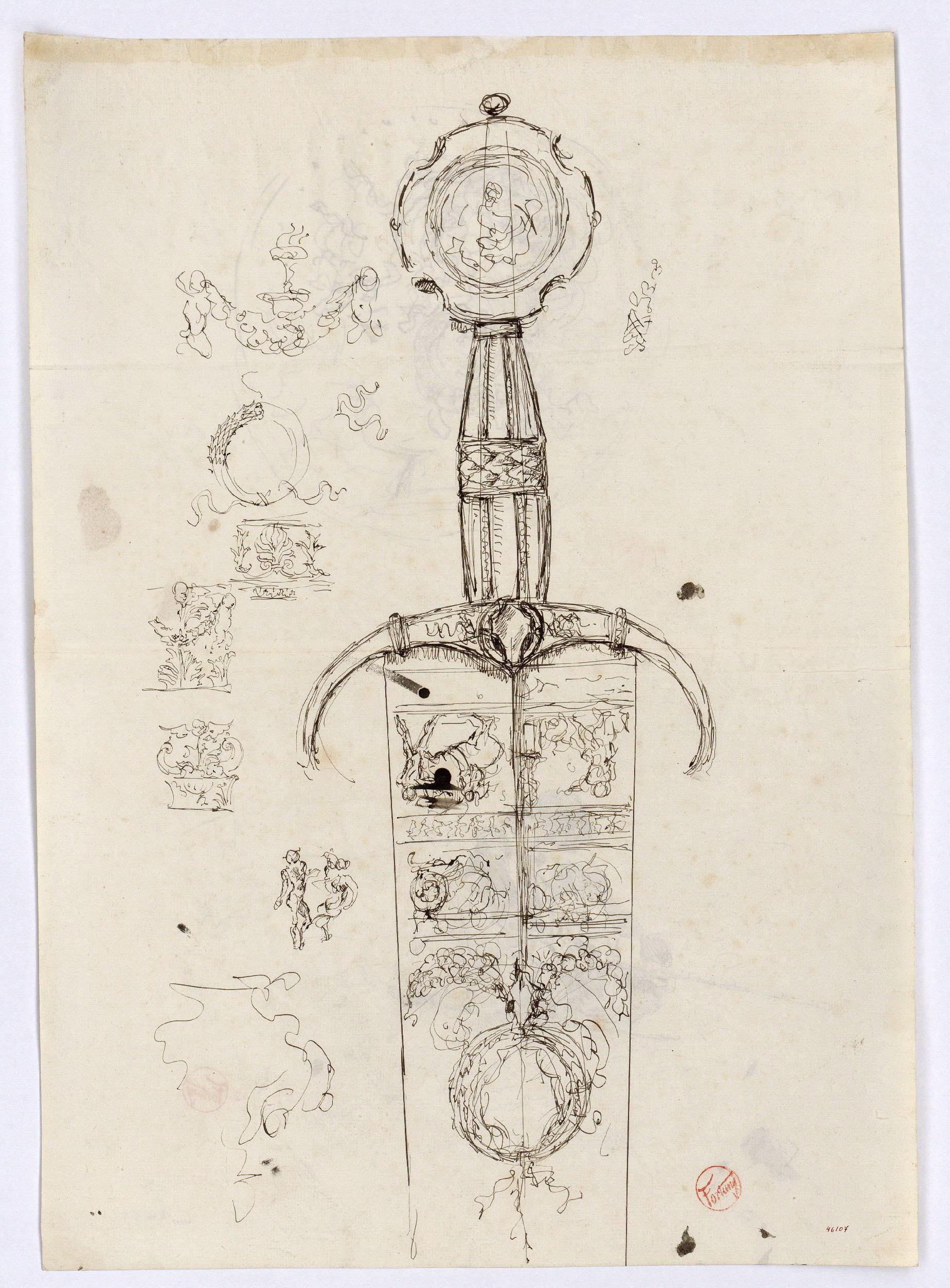 Marià Fortuny - Moneda i estudi per al quadre «L'esmolador de sabres» (anvers) / Espasa d'estil renaixentista (revers) - Cap a 1863-1872 [1]