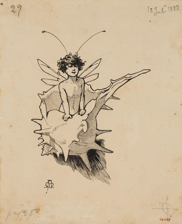 Apel·les Mestres - Silf sortint de l'interior d'un cargol de mar. Culdellàntia per al poema «Liliana» d'Apel·les Mestres - 1888