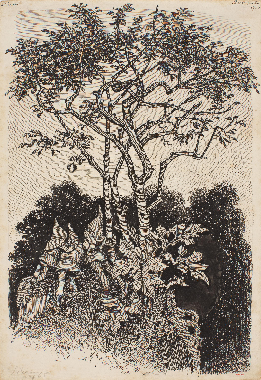 Apel·les Mestres - Tots a l'aguait. Il·lustració per al poema «Liliana» d'Apel·les Mestres - 1905