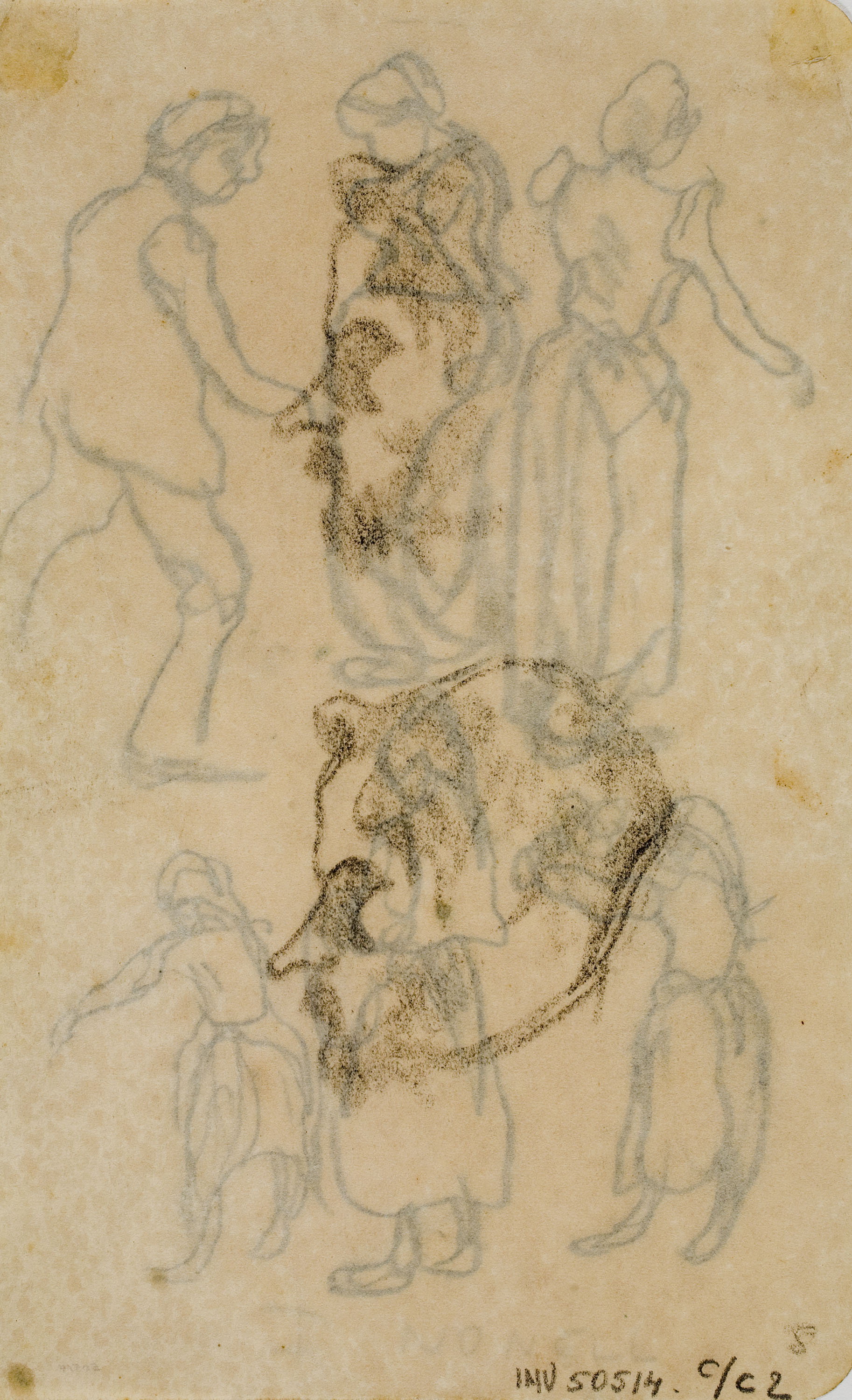 Isidre Nonell - Study of two heads in profile - Circa 1911