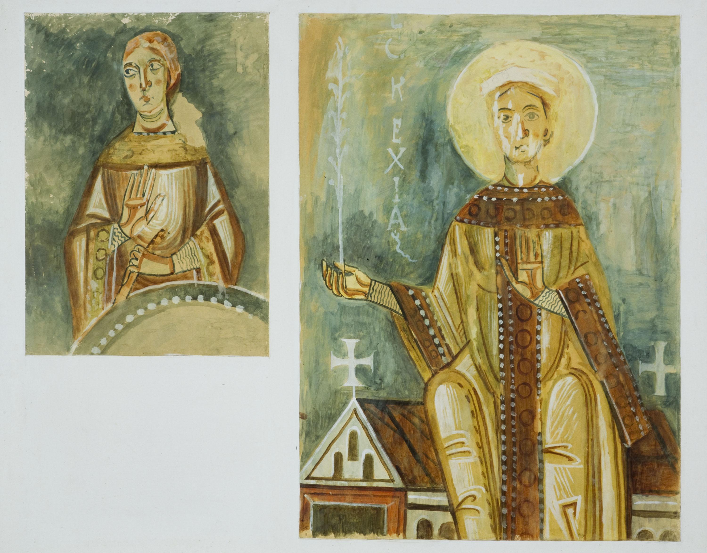 Rafael Martínez Padilla - Reproducció de les pintures de Sant Quirze de Pedret. Una verge fàtua i l'Església - 1907